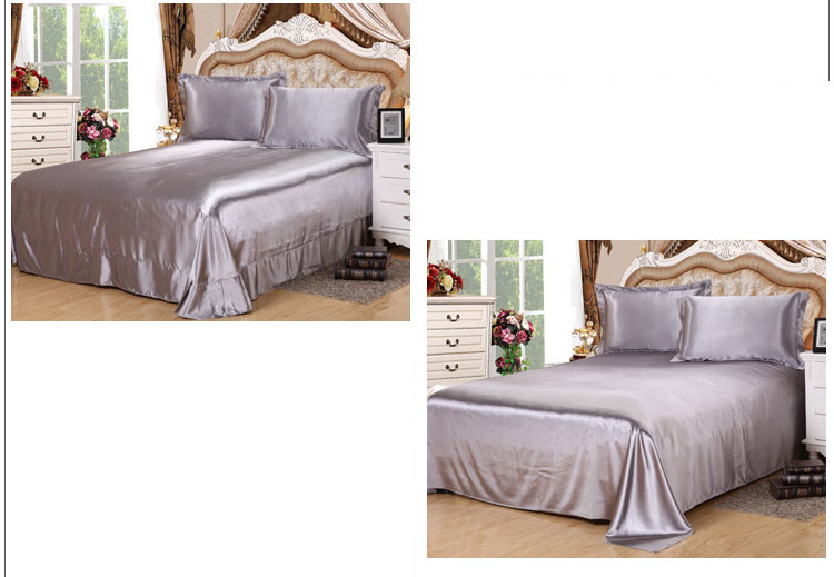 Satin Silk Solid Color Flat Bed Sheet Pillowcases 3pcs Bed