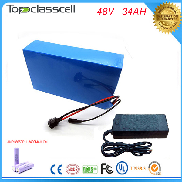 Free customs taxes  Powerful 48v 1000w electric bike battery pack li-ion 48v 34ah batteries for electric scooter For LG Cell 48v 34ah triangle lithium battery 48v ebike battery 48v 1000w li ion battery pack for electric bicycle for lg 18650 cell