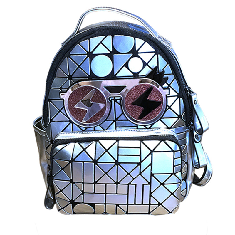 2017 Fashion Women Girls Diamond Lattice Sequins Soft Glasses Zipper Pocket Backpacks Rucksack Bags Casual Travel Shoulder Bag чехол для highscreen pure j черный
