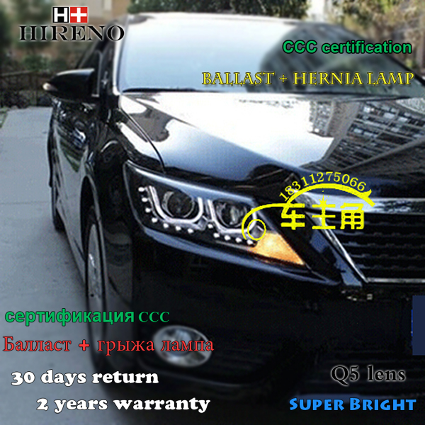 Hireno Headlamp for 2012 2013 2014 Toyota Camry Headlight Assembly LED DRL Angel Lens Double Beam HID Xenon 2pcs