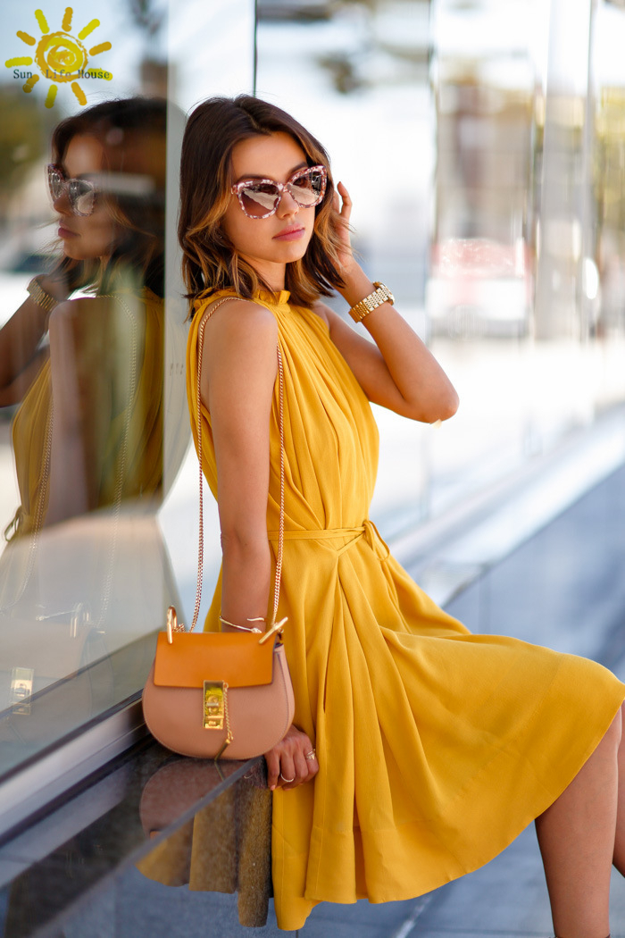 womens summer dresses 2015 summer yellow dress women new fashion style  mustard yellow pile collar loose dress + gift !-in Dresses from Women s  Clothing on ... 04c371981