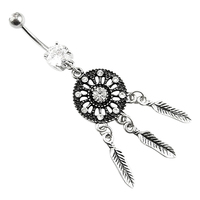 24 Pcs Women Crystal Rhinestone Dream Catcher Body Piercing Belly Button Navel Ring Bar