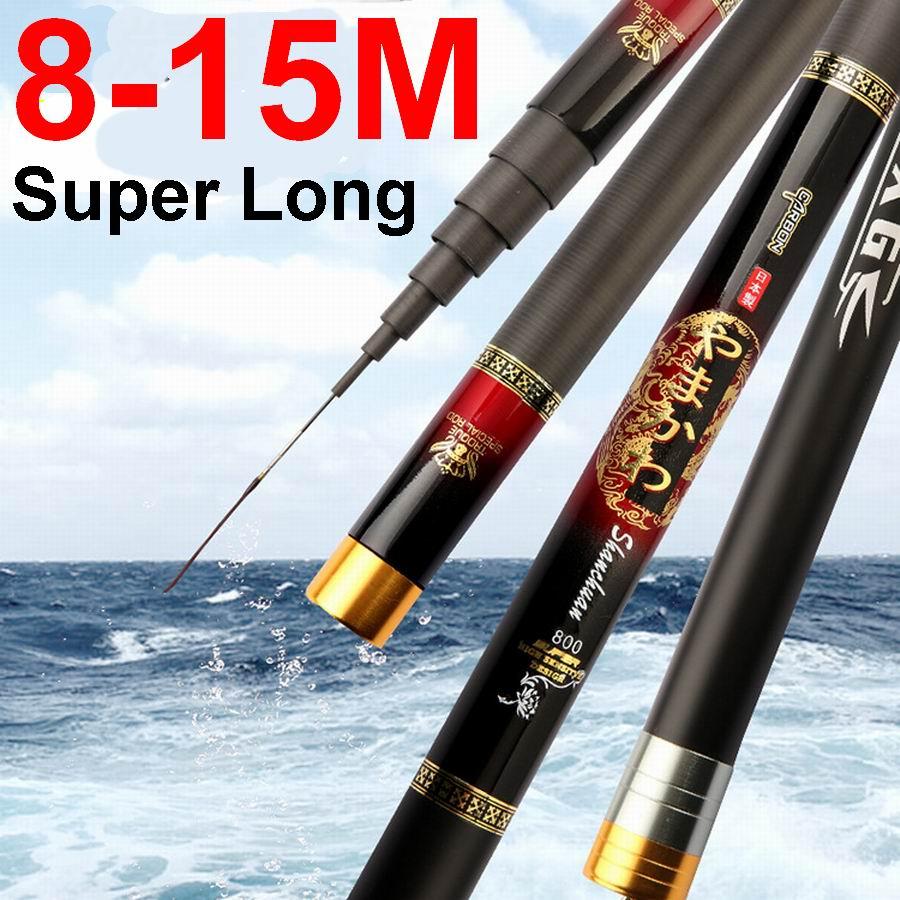 YAMAKAWA Shanchuan 8 M 9 M 10 M 11 M 12 M 13 M 14 M 15 M canne à pêche télescopique Super longue Action rapide Superhard bonne qualité a 2 embouts