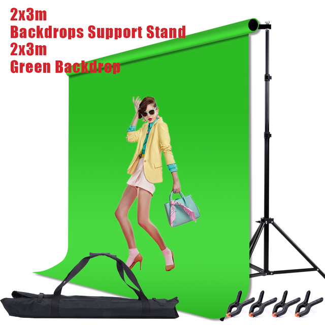 2 * 3m / 6.5 * 10FT Adjustable Aluminum Photo Backrest Support Stand With Screen Chromakey Green Muslin Backdrop Background Kit