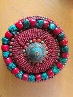 TJB903 Tibetano handmade branco escudo vermelho caixa de jóias de pérolas, 10 cm, Revenda & Atacado