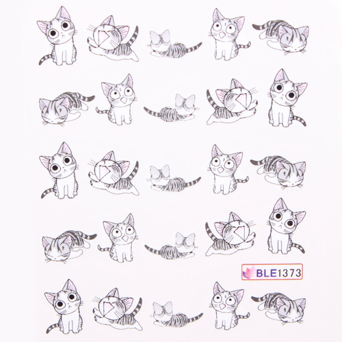 20pcs Cat Nail Stickers Art Water Decals 10 Styles Transfer Nails Salon Decoration Black Gold Silver In From Beauty