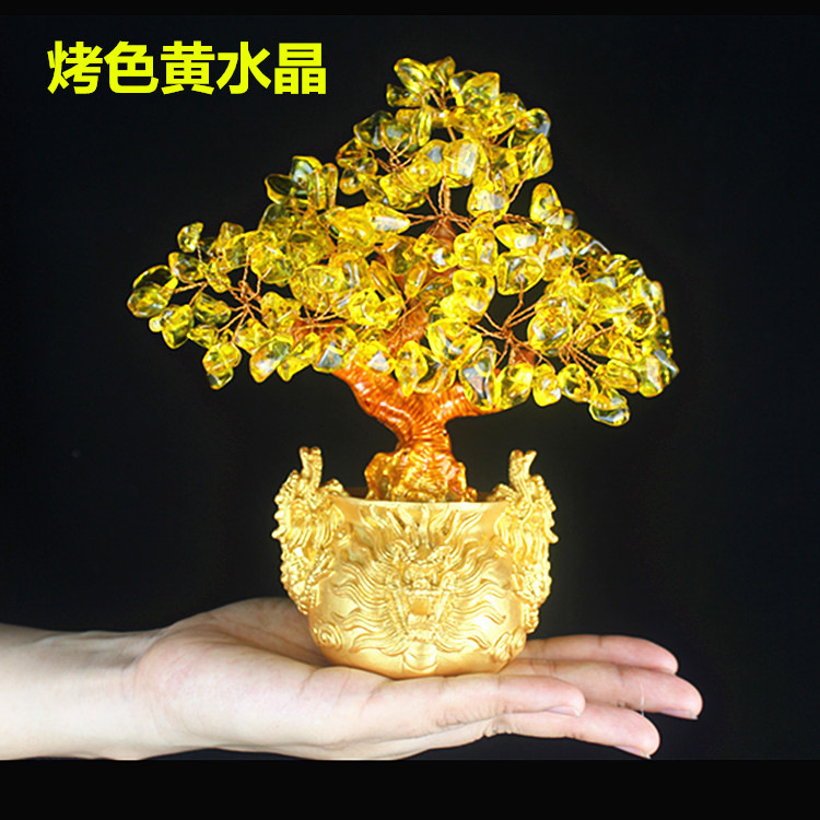 Crystal lucky dragon money tree home wine cabinet decoration crafts living room small ornaments small dragon tree feng shui