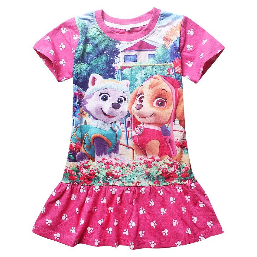 Filles Robes de Princesse Filles Robe de Fête D'anniversaire de Bande Dessinée Chien Imprimer Robes Adolescents Enfants Robe Bébé Fille Vêtements