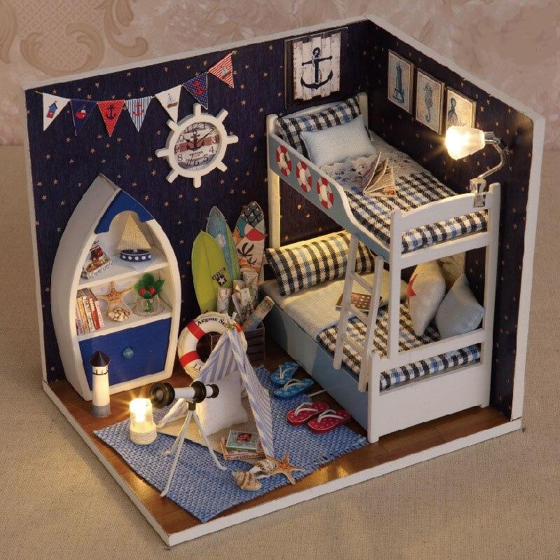 Original 3d Diy Assemble Blue Sky Bedroom Miniature Scene