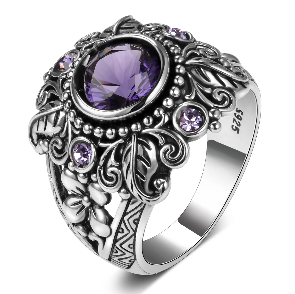 HTB1ca9HaIrrK1RjSspaq6AREXXaD Natural Purple Amethyst Rings Women's Solid 925 Sterling Silver Fine Jewelry Anniversary Party Gift For Grandmother Wholesale