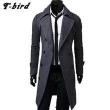 T-bird Jacket Men Winter 2017 Male Bomber Jacket Men Double-Breasted Long Section Brand Parka Men Outwear Men Cotton Jackets 3XL