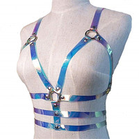 CETIRI Women's Sexy Laser Waist Belts PU Leather Adjustable Body Chest Harness Belt with Buckles Rings Punk Costumes