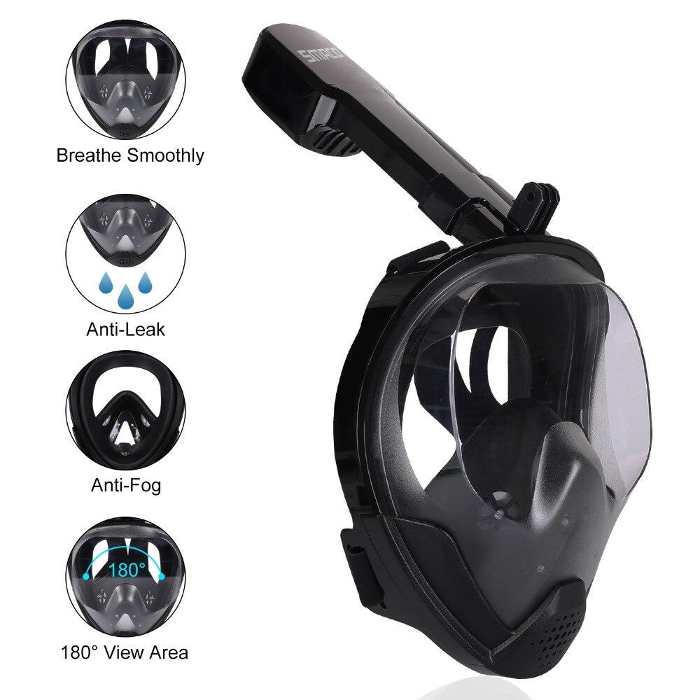 2019 tout nouveau masque de plongée en apnée visage Anti-buée Anti-fuite masque de natation tuba masque de plongée sous-marine pour GoPro - 3