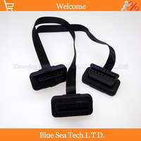 1 Pcs 16 Pin OBD2 Male To 2x Female Adapter Extension Cord Cable For Auto Double