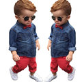 2017 Primavera Conjunto de Roupas infantis Do Bebê Meninos Roupas de Algodão de Manga Longa Camisetas + Calças Jeans Casual Crianças Roupa Vermelha moda