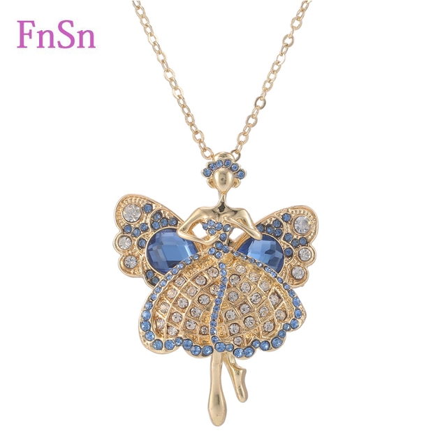 New 2017 hot summer necklace long necklacespendant angel crystal new 2017 hot summer necklace long necklacespendant angel crystal dancers zinc alloy gold color women statement mozeypictures Image collections