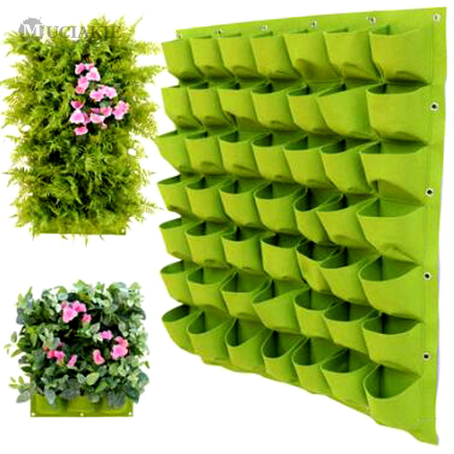 MUCIAKIE Wall Hanging Planting Bonsai Bags 9/18/24/36/49/56/64/81 Pockets Green Grow Bags Planter Vertical Garden Flowers Supply