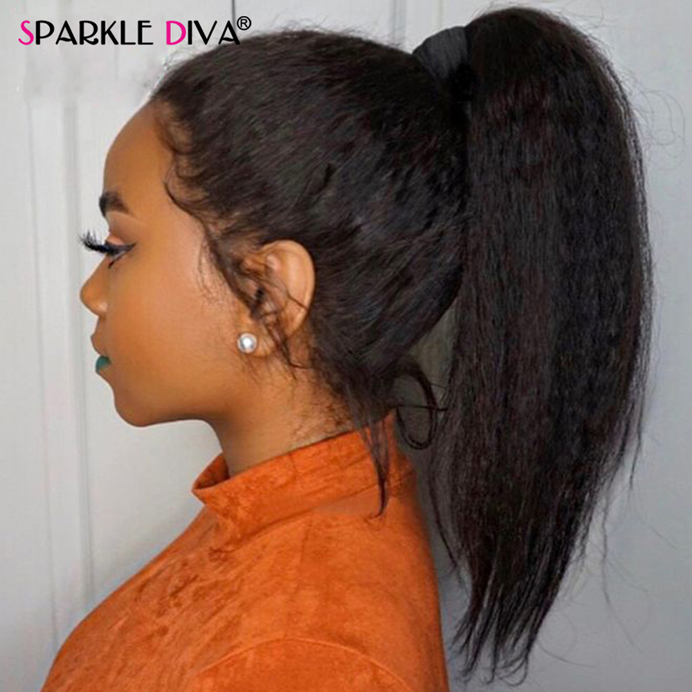 Glueless Lace Front Human Hair Wigs Brazilian Lace Front Wig Kinky Straight Remy Hair Wig 150% Density Human Hair Wigs For Women