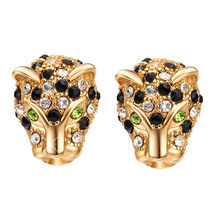 Fashion Women Shining CZ Crystal Leopard Head Shaped Stud Earrings Punk Style Personality Animal Earrings Top Quality Jewelry(China)