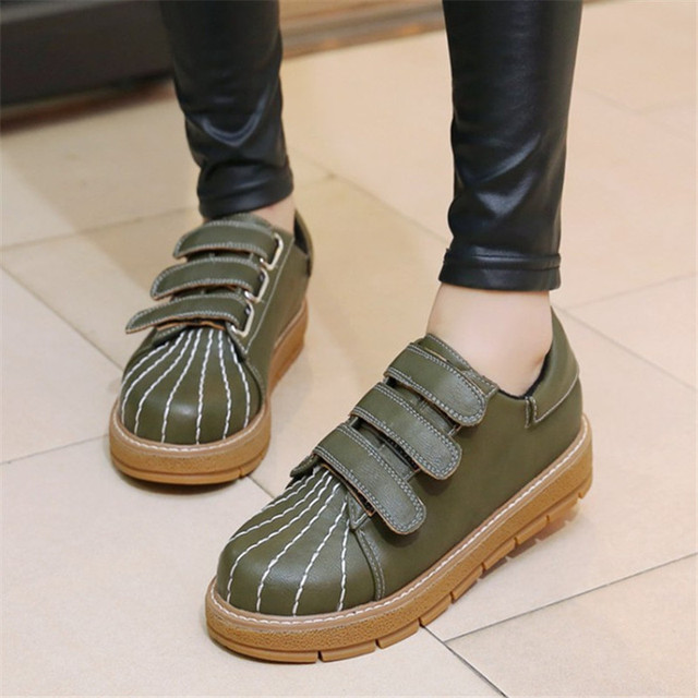 Plus size 34-45 New Women Casual Shoes Classic Shell Round Toe Oxford Flat Shoes Hook Loop Lovers Thick Flat Heel Slip Soft Shoe