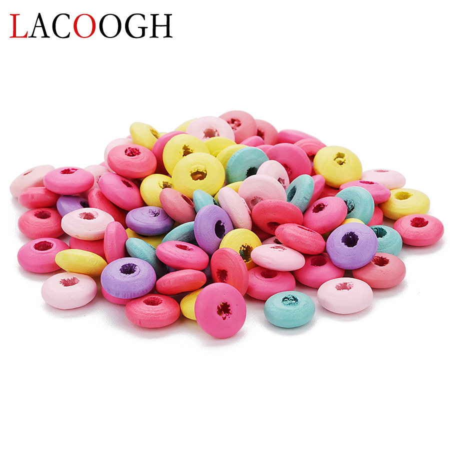 Wholeslae 200pc 10X5mm Natural Colorful Wood Abacus Beads Saucer Loose Wood Beads Lentil Spacer Beads for DIY Jewelry Finding