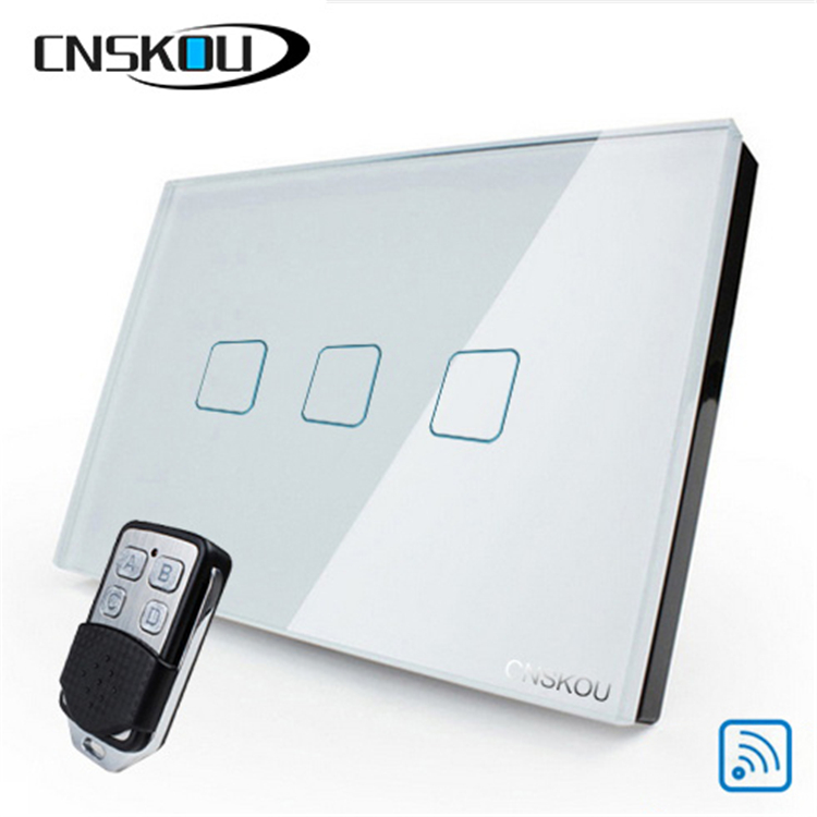 Csnkou 3gang US standard lighting wall touch switches remote control touch switch screen smart wall switch for LED lamp in Switches from Lights Lighting