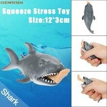 12cm ABS Vicces játék cápa Stresszlabda Alternatív humoros fény Stressz Relief Reliever Squishy Squeeze Toy Hot Drop Szállítás