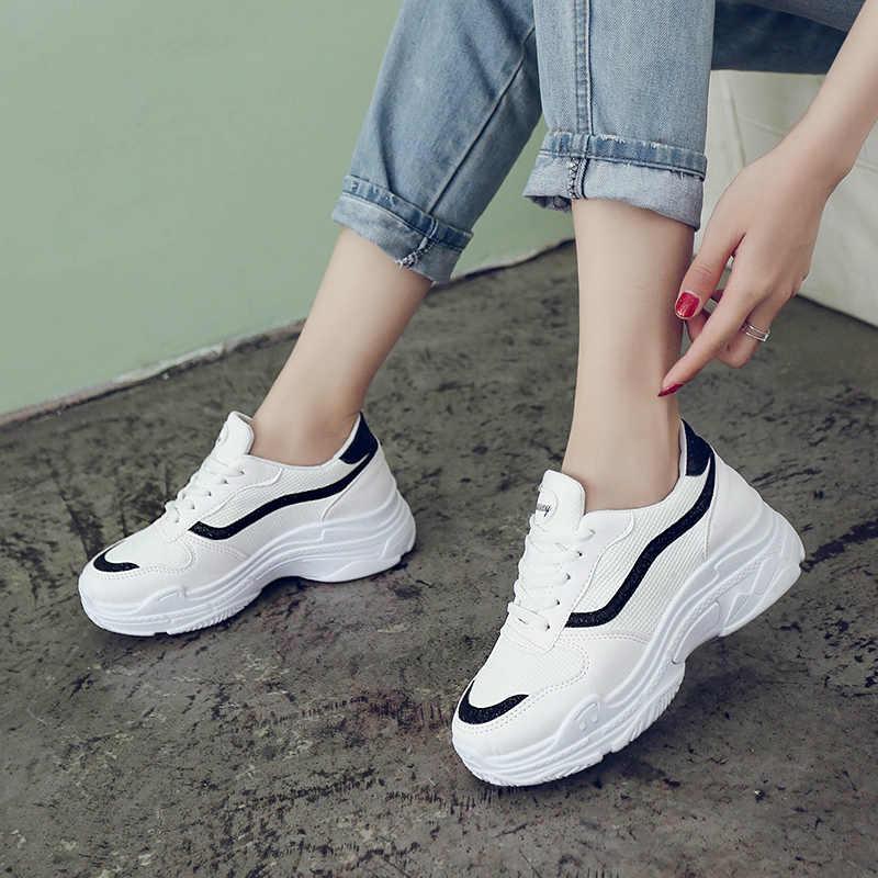 ef45dce58 2018 модная повседневная женская обувь, летняя Удобная дышащая женская  белая обувь, женские кроссовки на