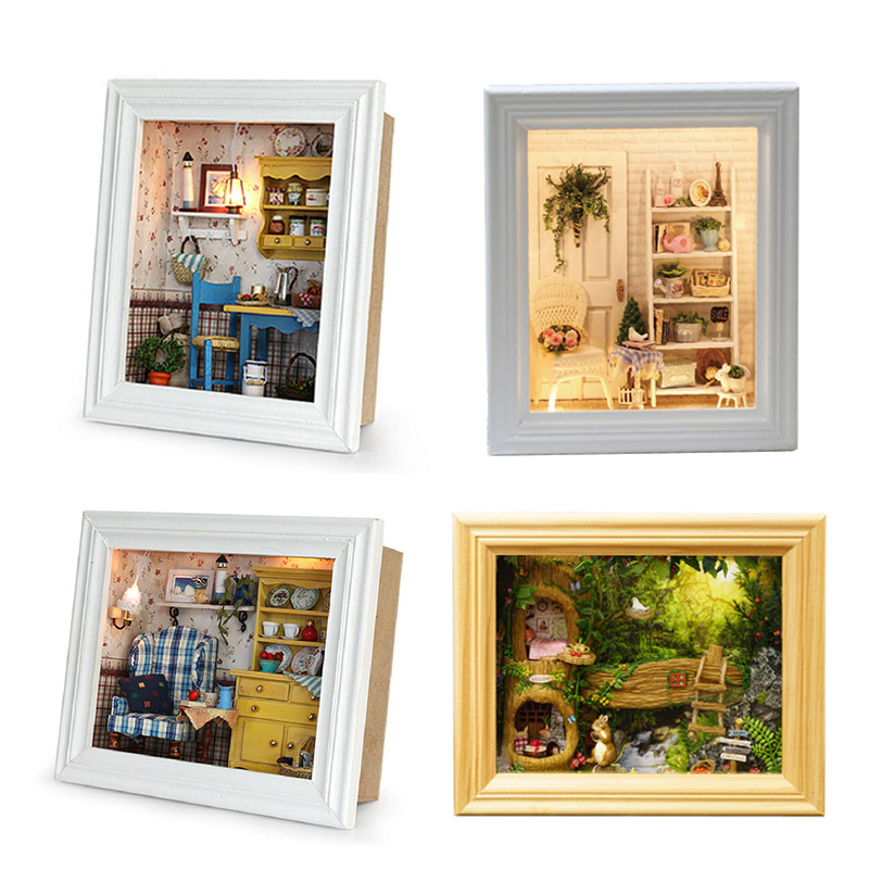 Doll House Wooden Frame Miniature Dollhouse With Furniture Kits DIY House Model Assemble Craft Toys For Children Birthday Gift
