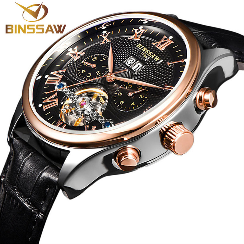 BINSSAW 2017 Men's watch Automatic mechanical watch tourbillon clock leather Casual business wristwatch relojes hombre top brand binssaw 2016 men s watch automatic mechanical watch tourbillon clock leather casual business wristwatch relojes hombre top brand