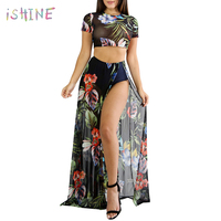 Women Sexy Bohemian Mesh Dress Two Piece Set Short Sleeve Floral Print T-Shirt +High Split Summer Beach Maxi Dresses Set