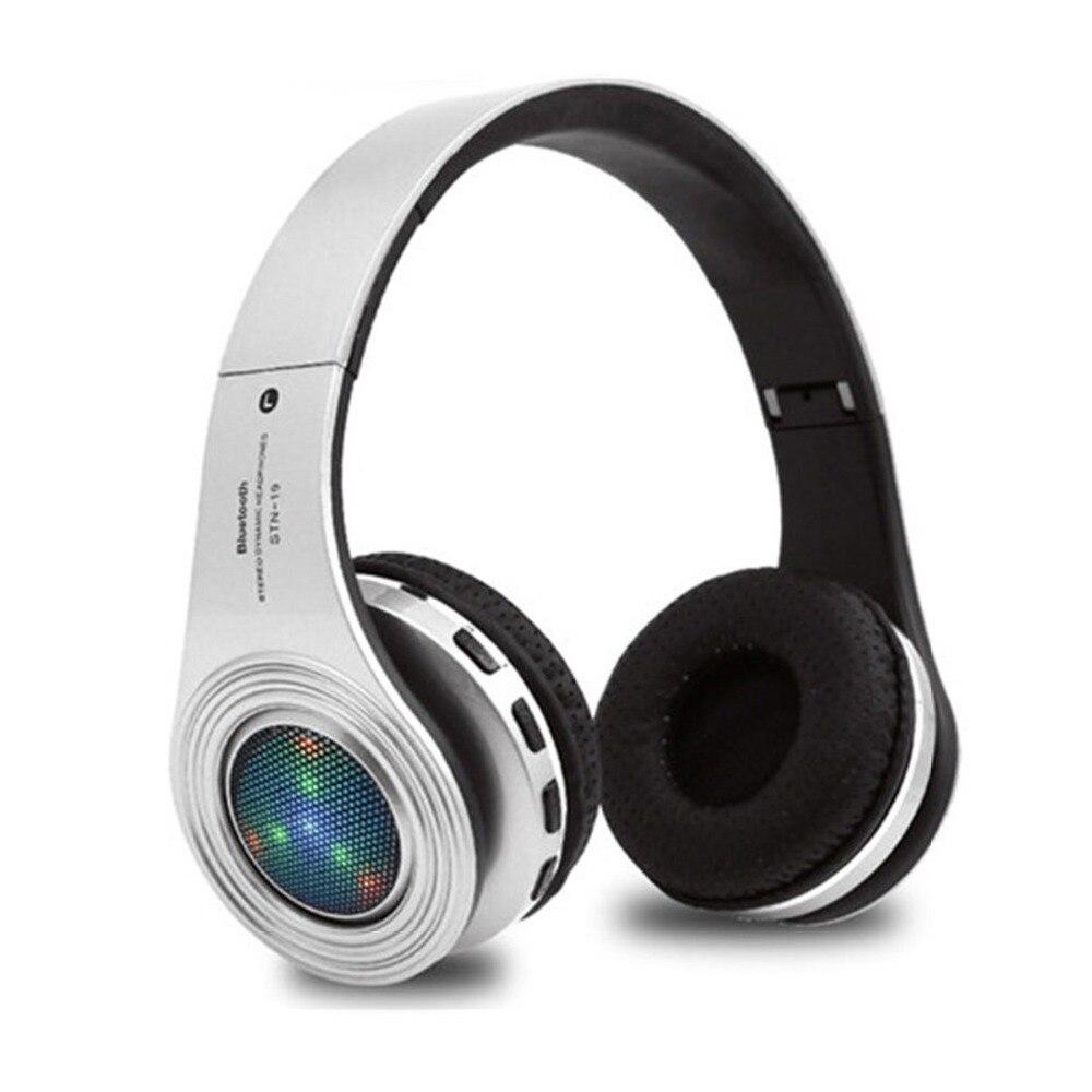 STN-19 Bluetooth наушники Беспроводной стерео наушники с микрофоном Поддержка светодиодный свет TF fm-радио для iPhone X для samsung s8