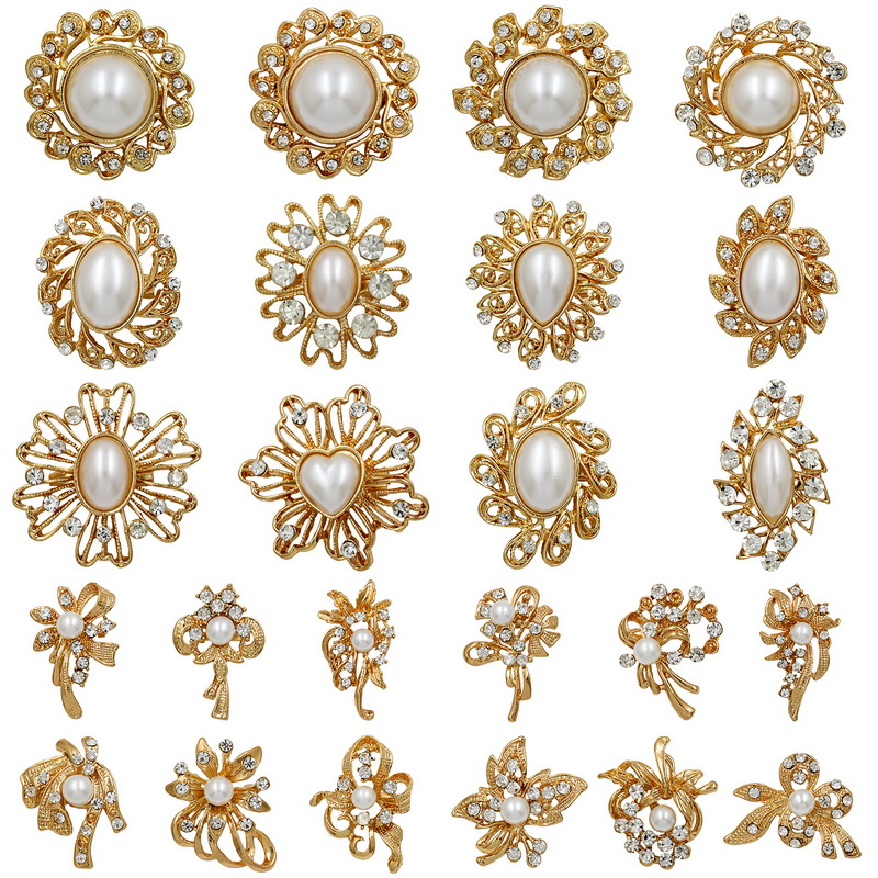 WEIMANJINGDIAN Wholesale Lots Imitation Pearl Crystal Chunky Brooch Pin for DIY Wedding Bouquets or Wedding Invitation