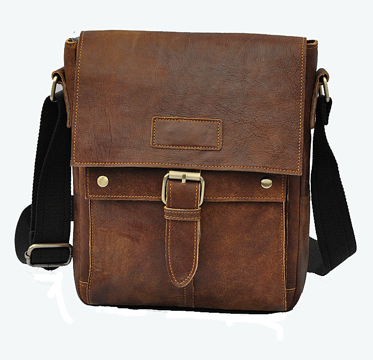 ФОТО 3 first layer of cowhide genuine leather crazy horse leather male one shoulder cross-body 10 laptop bag 8571