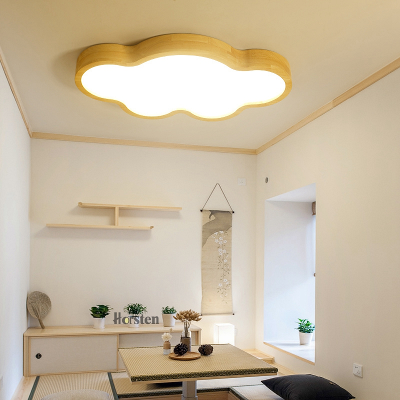 Japanese Style Room Ceiling Lights Cloud Shape LED Ceiling Light For Bedroom Kids Luminaire Cute Wooden Kitchen Lighting Fixture (6)