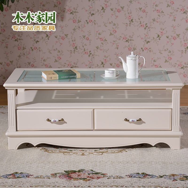 Continental Korean Simple Coffee Table Tea Small Apartment Living Room Tempered Glass Ivory