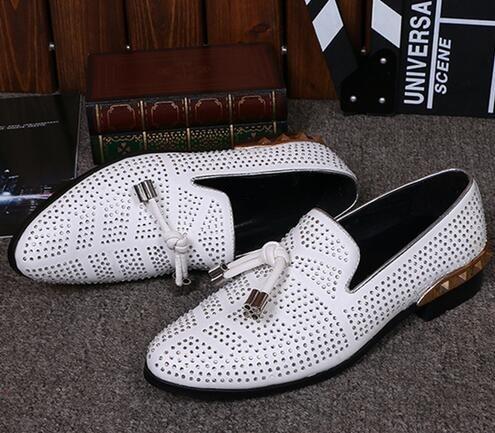 Chaussures Strass Appartements Blanc Hommes Cuir Robe Bateau Top En Mocassins Casual Mens Cloutés Espadrilles Mans qwPZxFTqa