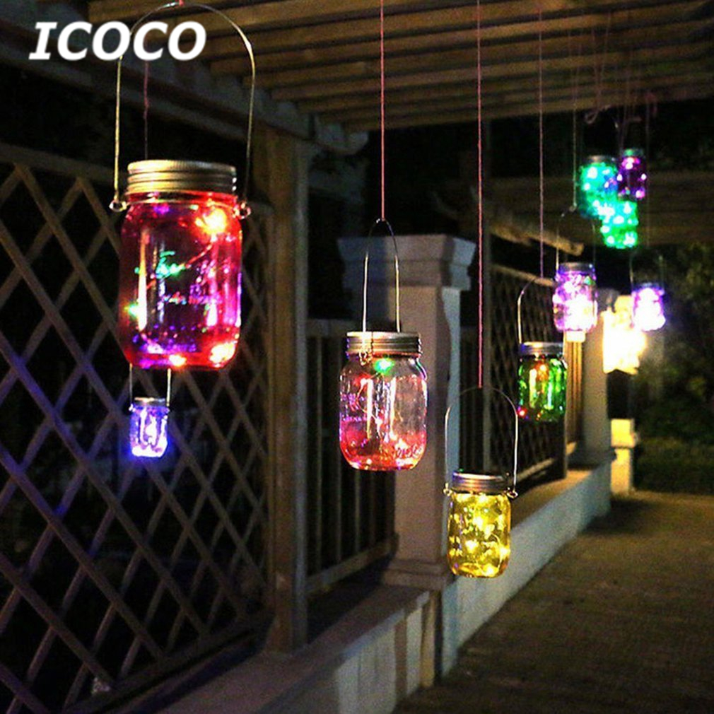 ICOCO Solar Mason Jar Light Waterproof Fairy Hanging Lamp+Steel Hanger Outdoor Landscape Decor Lamp For Holiday Wedding Party