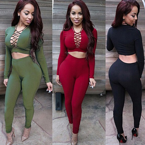 New Sexy Women Two Piece Outfits Halter Bandage Long Sleeve Tops Bodycon Pants Leggings