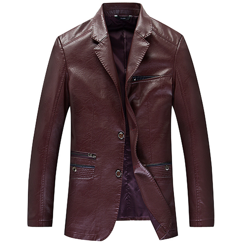 2019 Mens Clothing Leather Blazers Real Sheeskin Leather Jackets Coats Slim Fit Big Sizes Tops Overcoat Red Black Spring Autumn