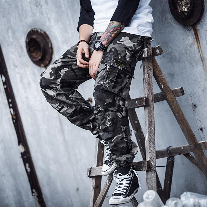 2018 New Brand Mens Spring Cargo Camouflage Pants Pencil Harem Pants Japanese Style MenS ...