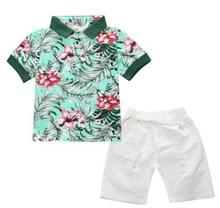 Boys Set 2019 Summer Baby Boy Clothes Cotton Short Sleeved Shirt+ Hole Shorts Two-piece Suit for 2-7 Years Old FZ8189
