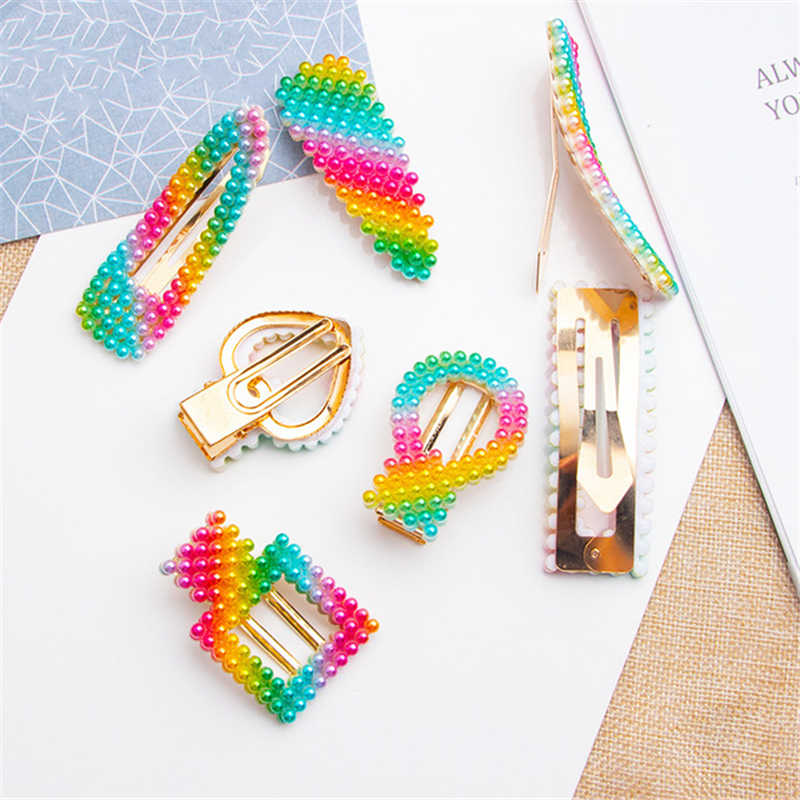 Lovely Beautiful Kids Geometric Hair Clips Glitter BB Clips Colors Children Asymptotic color Candy Color Star Girls