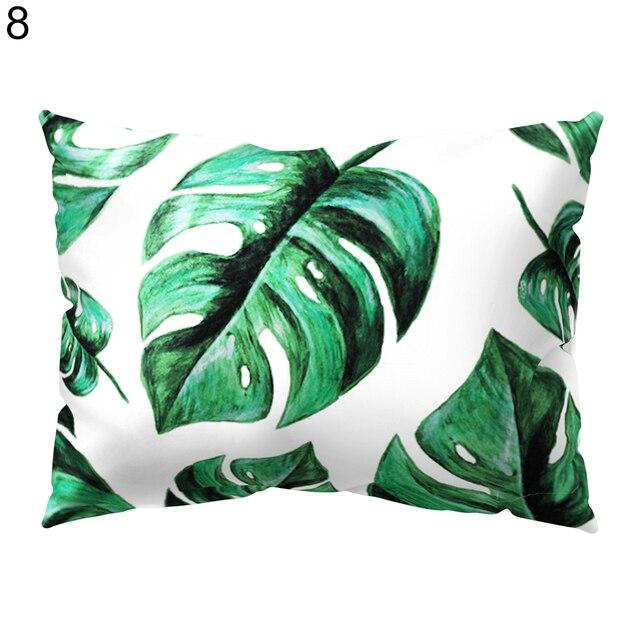 1 pz Tropicale Foglie Verdi Rettangolo Coperture per Cuscini Fodere per Cuscini Divano Decorazione Della Casa