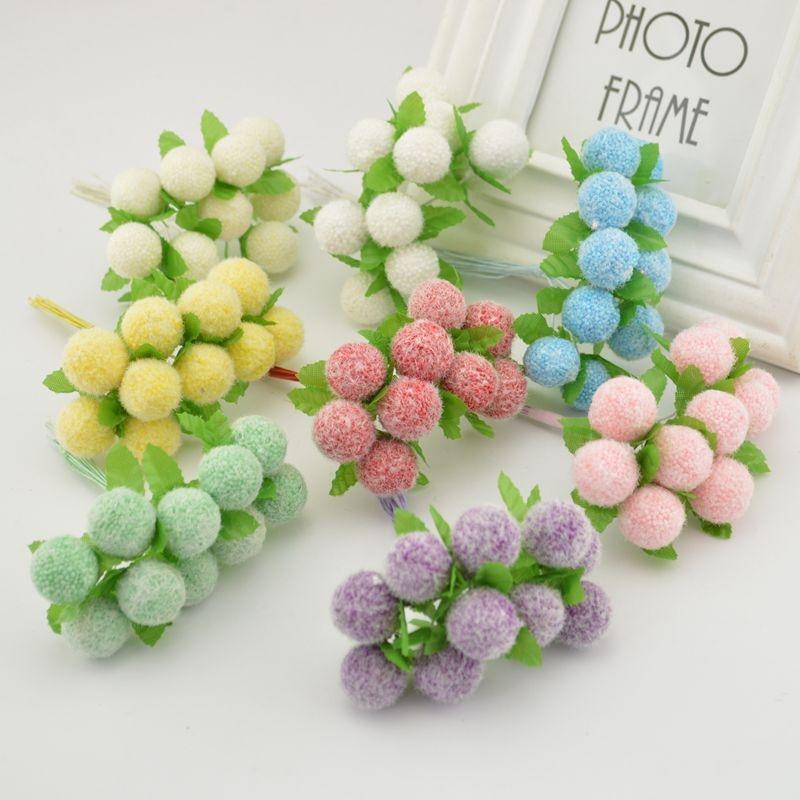 10pcs artificial Flower berry foam Stamen scrapbooking for home wedding decoration Box crafts Supplies Bride wrist Accessories
