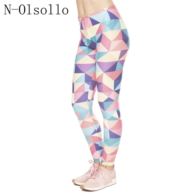 5afe802aa8ccf N-olsollo Colorful Triangular Geometric Plate 3D Printed Women Fitness  Leggings Micro Fiber Soft Workout Pants Knitted Jeggings