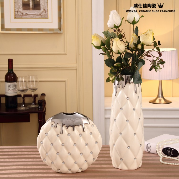 White Porcelain Anaglyph Silver Set Auger Vase Flowers In New Home  Furnishing Articles Act The Role