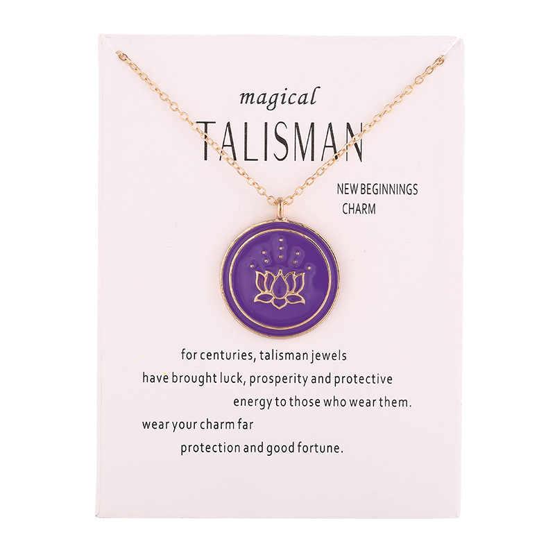 Новый волшебный талисман серии лакированные эмалированные падение лотоса новые начинания Шарм кулон цепочки и ожерелья ювелирные изделия