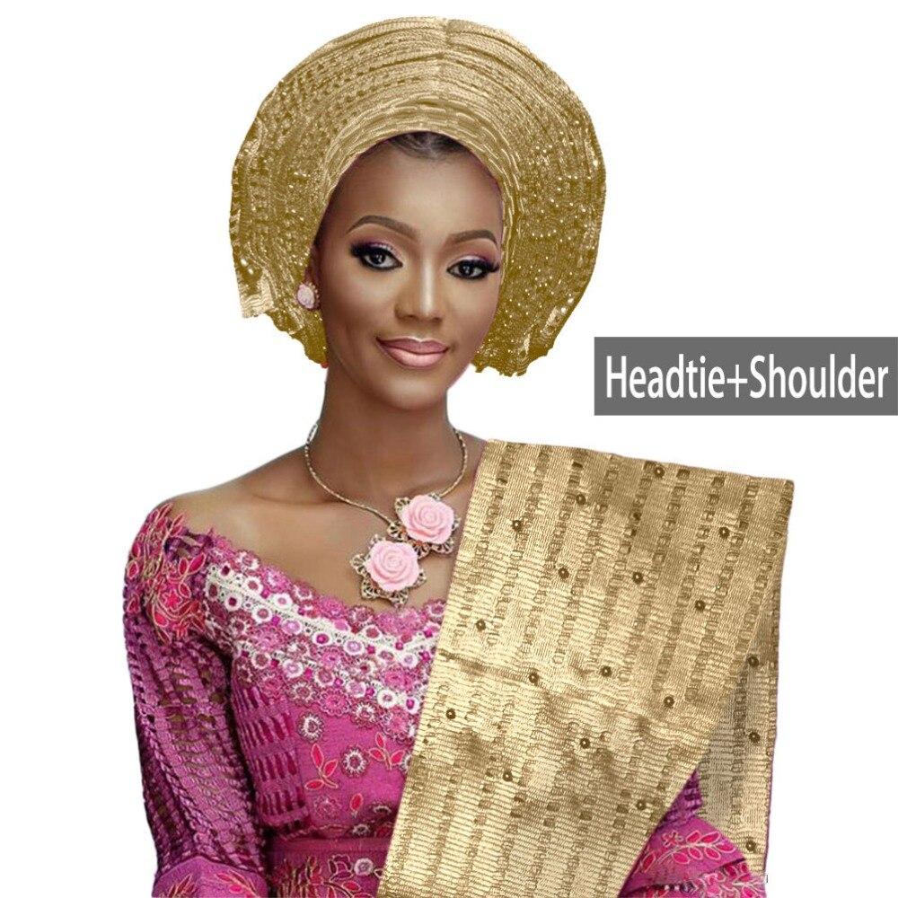 African aso oke gele headtie beaded headwrap Nigerian&African Wedding Party auto gele (10)