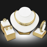 African Fashion Jewelry Sets For Women Gold Plated Exaggerated Big Choker Necklace Bangle Earring Ring Set